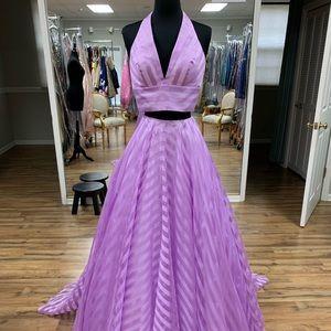striped long formal dress